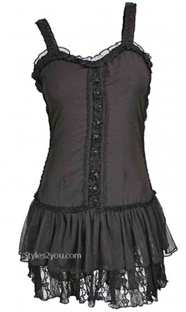 Kinslee Ladies Shabby Chic Top Tunic Dress In Black Pretty Angel