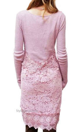 Joella Retro Sweater & Lace Dress Tunic Mauve Pretty Angel Dress