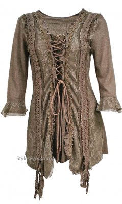 Renaissances Ladies Lace Up Top In Brown