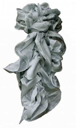 Ladies Dressy Ruffle Scarf In Silver