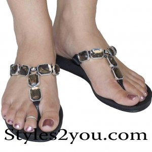 Grandco Sandals Dark Gray Crystal Black Sandal