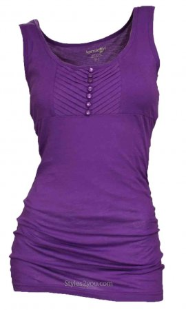 Sophia Button Front Tank In Purple