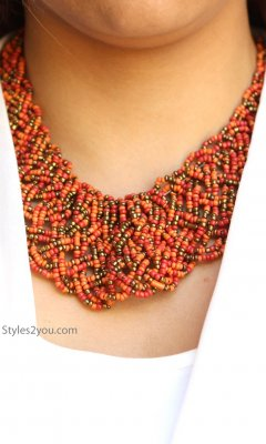Beaded Necklace In Rusts, Reds & Gold