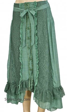 Jana Vintage Lace Bohemian Western Skirt In Green Pretty Angel