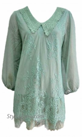 Annabelle 3/4 Sleeve Double Layered Lace Blouse In Aqua