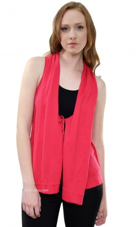 Cara Ladies Sweater Vest Cardigan In Coral