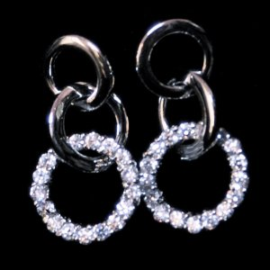 Silver Post Earrings With CZ's