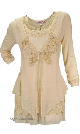 Madonna Layered Victorian Vintage Blouse Caramel Pretty Angel