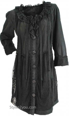 Evelyn Top Cardigan Dress in Black