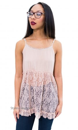 Hollie Lace Slip Camisole Shirt Extender Adjustable In Apricot
