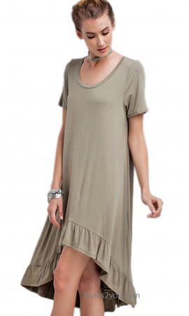 Morrison Oversized Tee Hi Low Ruffle Bottom Tunic Dress Olive