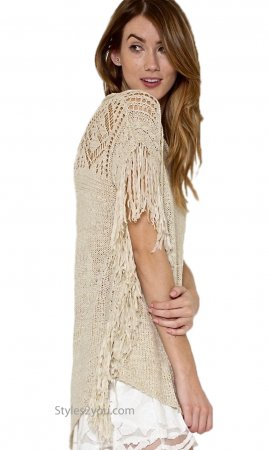 Maisie Knit Sweater With Fringe In Natural