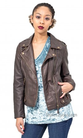 French Paparazzi Faux Leather Ladies Vintage Bomber Jacket