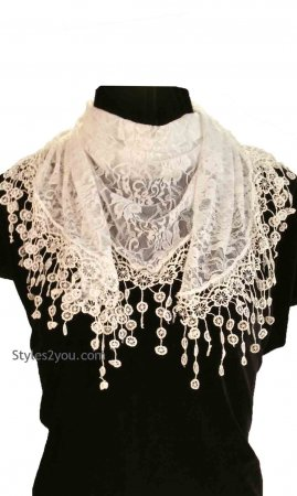 Vintage Lace Scarf Wrap In White