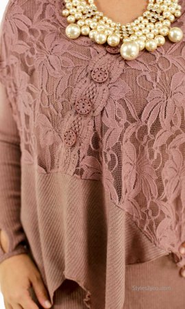Mae Lace Blouse In Mauve