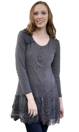 Addison Shirt Dress Extender Long Sleeves & Lace Skirt In Gray