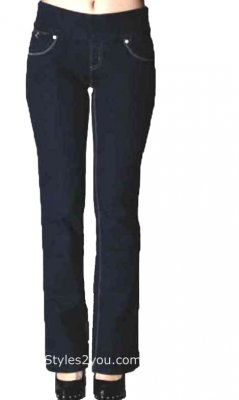 Lola Jeans Leah Bootcut Pull On Denim Jeans In Dark Blue
