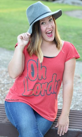 Oh Lordy Flutter Ladies Tee In Red