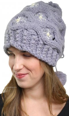 Gracie Adjustable Cable Knit Hat With Rhinestones In Gray
