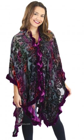 Antheia Floral Burnout Hand Beaded Cape With Ruffles