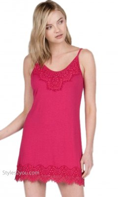 Renton Shirt Extender Slip Dress Cami With Eyelash Trim Fuchsia