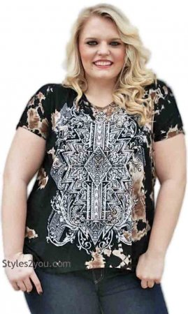 Rita Vocal PLUS SIZE Tie Dye Blouse With Rhinestones In Black