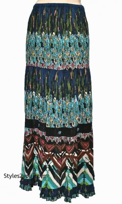 Briti Ladies Gypsy Hippy Bohemian Skirt In Multi Colors
