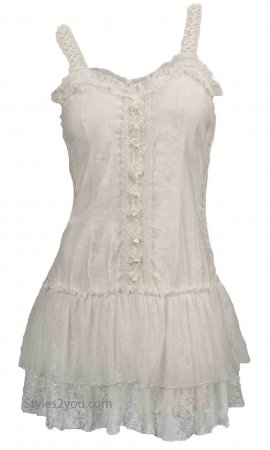 Kinslee Ladies Shabby Chic Top Tunic Dress In White Pretty Angel