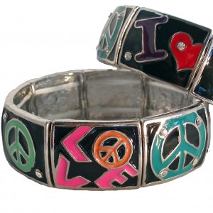 Love And Peace Stretch Bracelet With Rhinestone In Black