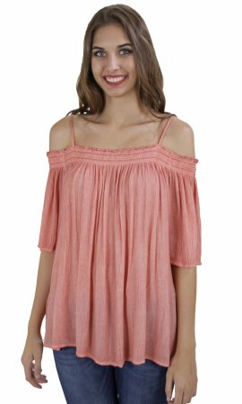 Freebee Ladies Cold Shoulder Short Sleeve Top Vintage Rose Easel