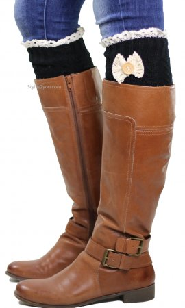 Cable Knit Boot Cuff With Crochet Lace, Bow & Button In Black