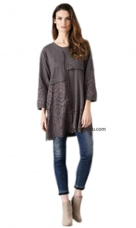 Emerald Long Sleeve Embroidered Eyelet Tunic Dress In Gray