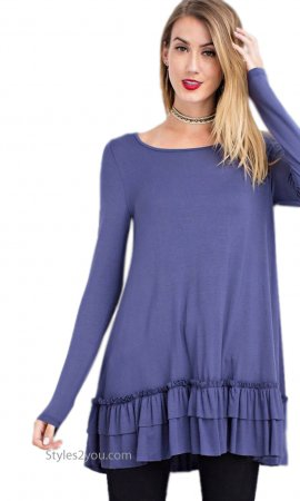 Celian Double Ruffle Tunic OR Layering Top In Faded Navy