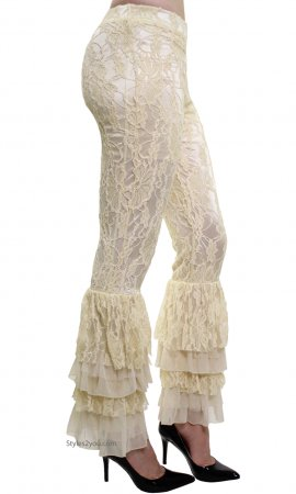 Lacey Victorian Lace Palazzo Pants, Leggings In Buttercream