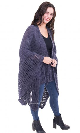 Cypress Ladies Loose Knit Wrap With Front Tie In Blue