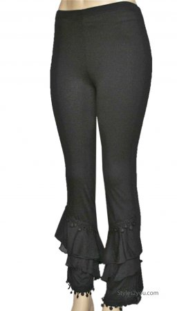 Miley Ladies Vintage Victorian Ruffle Pant Legging Black Pretty