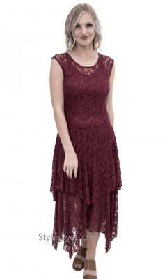 Abigail Layered All Lace Dress With Slip In Burgundy Verducci