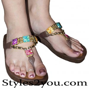 Grandco Sandals Square Marble Beaded Thong In Brown