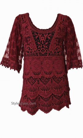 Gayla Vintage Lace Blouse In Burgundy