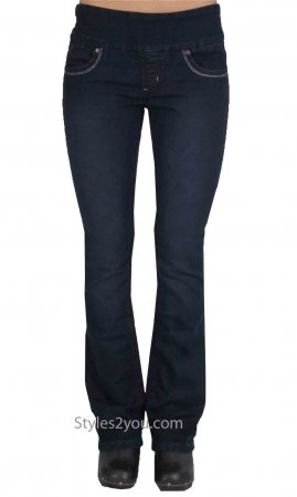 Lola Jeans Leah Bootcut Pull On Denim Jeans Midnight Blue Denim