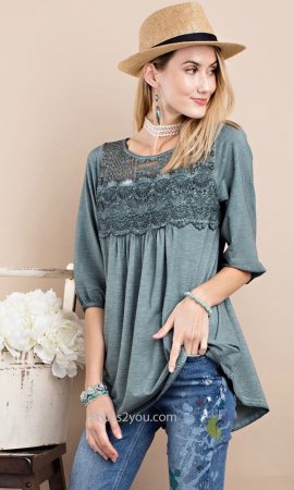 Saint Crochet Lace 1/2 Sleeve Soft Knit Tunic In Washed Wormwood