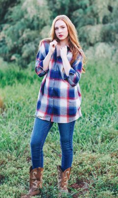 Detroit Ladies Oversized Button Up Plaid Shirt In Blue