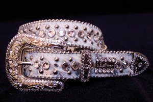 BB Simon Swarovski Crystal White Leather Belt