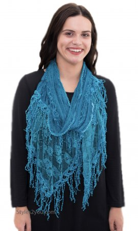 Anastasia Vintage Victorian Crochet & Lace Scarf In Teal