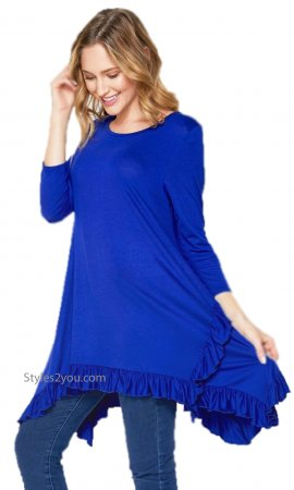 Sue PLUS SIZE Bohemian Ruffle Hem Blouse In Royal Blue