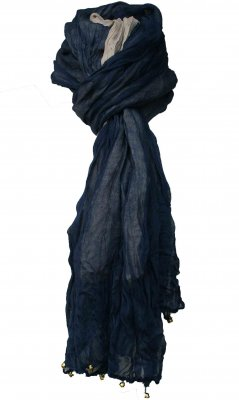 Reversible Scarf In Navy Blue And Beige
