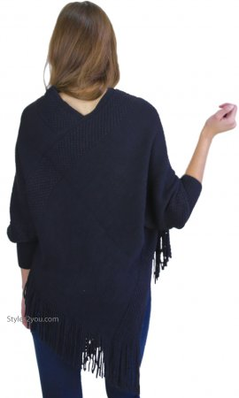 Nora Fringe Hem Cape Sweater With Sleeves In Black