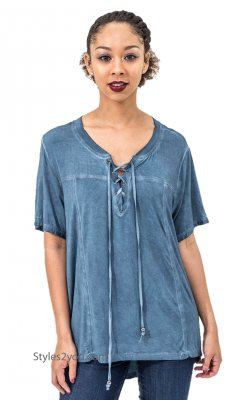 Honor Oversized Short Sleeve Lace Up High Low Top Washed Blue