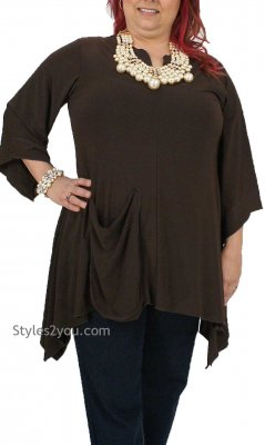 Kara Shirt Dress With Pocket In Missy & Curvy Sizes In Brown