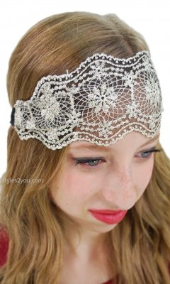 Ladies Crochet Lace Headband In Gold And Off White